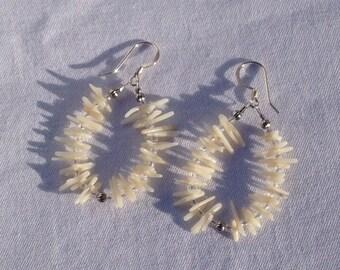 White bamboo coral earrings, snow white, crystals, sterling silver, hoop earrings, circle earrings, dangle earrings, cupolini
