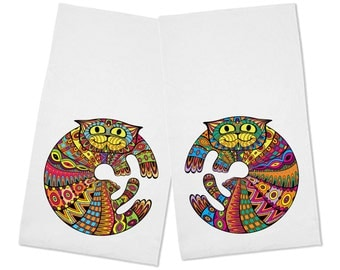 Beautiful Set of 2 Colorful Cats Kitchen Tea Towels
