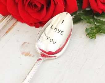 Handstamped Spoons I Love You Recycled Vintage Stamped Teaspoon