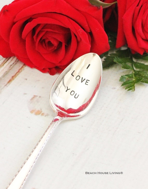 I Love You Recycled Vintage Stamped Teaspoon