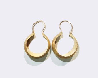 14K Gold Victorian Creole Hoop Earrings Antique 14kt Gold Fine Earrings Jewelry
