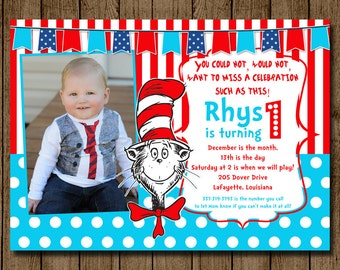Customized Cat in the Hat Birthday Invitation Invite with Photo Dr. Seuss Stripes and Polka Dot Party 1st 2nd 3rd 5x7 Digital JPEG PDF DIY