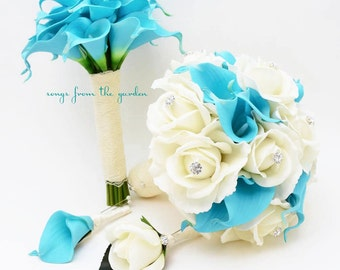 Blue White Real Touch Bridal Bouquet Calla Lilies Roses and Rhinestones Groom's Boutonniere Maid of Honor Bouquet Best Man Boutonniere