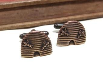Antiqued Brass Beehive Cufflinks - Bee Bumblebee Honeybee Cuff Links - Soldered - Urban Farm Honey Bee