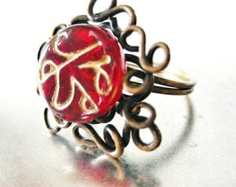 Red Gold Ring Ornate Wire Work Scrolls Antique Brass Red Glass Script Swirl Bead Handmade Jewelry Canada Size 7