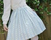 Custom Classic Lolita Skirt - Blue Floral Style