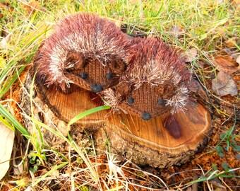 Black Friday 30% OFF Hand Knit Brown Hedgehog Mittens Gloves Children Toodler  2-3 T Christmas gift