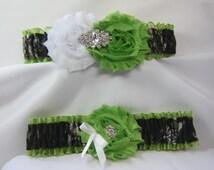 Lime Green Mossy Oak Camouflage wedding garters camo garter lime Shabby Rose