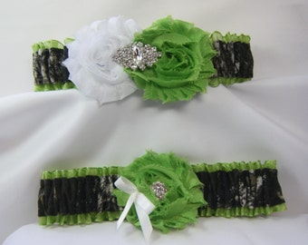 Lime Green Mossy Oak Camouflage wedding garters camo garter lime Shabby Rose