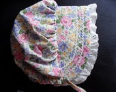 Spring Flowers Baby and Toddler Bonnet  Solid White or White Eyelet  nb, 3,6,9,12,18 months