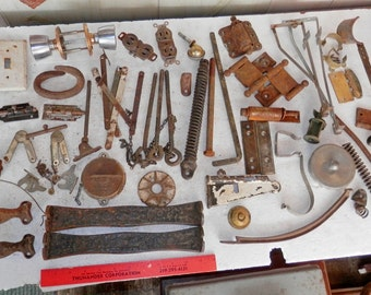 Box full of misc rusty neat items for the assembler or crafter to use steam punk
