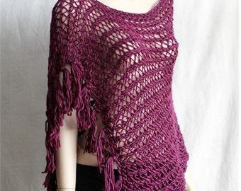 Womens Wool Poncho,  Fringe  Lace Knit   Poncho,    Wrap   Sweater,   Womens Fashion   Poncho, Trendy  Womens  Clothing