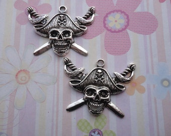 10pcs antique silver skull findings 45x35mm