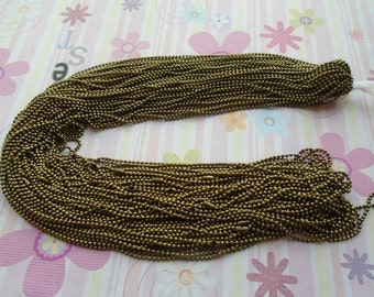 50pcs 1.5mm 30 inch bronze color ball necklace chain with matching connector