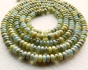 Sage Green Czech glass donut bead mix, Rondelle glass bead mix, 4mm, Sage Green glass bead mix (100pcs) NEW