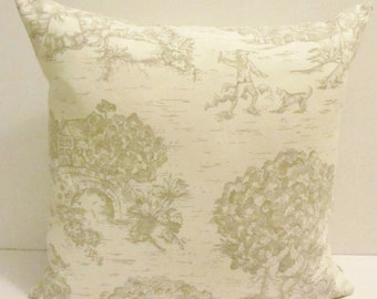 Pastoral Toile pillow cover, ivory/taupe, accent pillow, throw pillow. 18 x 18 inch,  FREE SHIPPING Canada and US