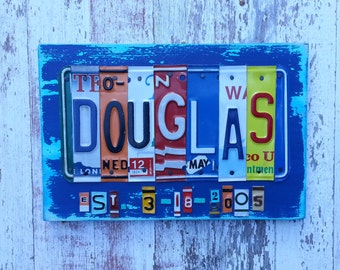 10th Wedding Anniversary Tin Aluminum Gift - 10 year wedding anniversary gift for men husband man License Plate Sign Name Art Personalized