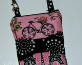 Pink & Black Give Me Paris Eiffel Tower Bicycle Bow Phone Case Optional Shoulder Strap iPhone 4 5 6 Plus Note Large Phone