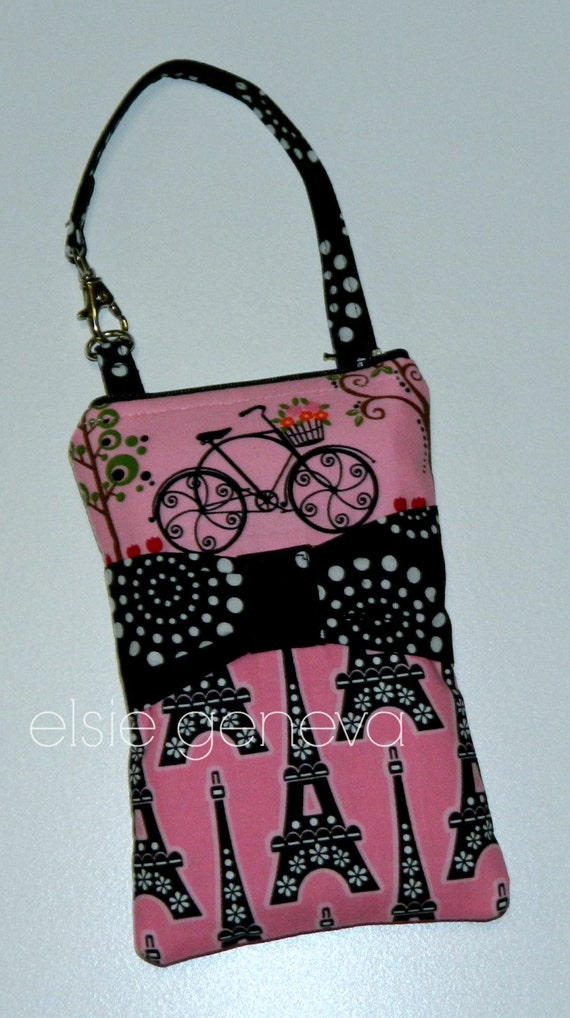 Ready to Ship Pink & Black Give Me Paris Eiffel Tower Bicycle Bow Phone Case Optional Shoulder Strap iPhone 4 5 6 Plus Note Large Phone