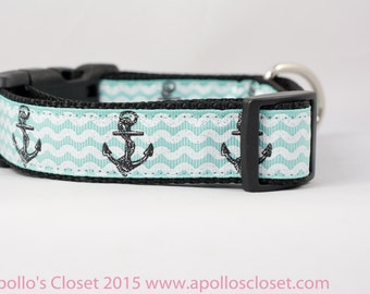 """Anchors on Aqua Dog Collar, 1"""" inch wide, buckle or martingale, girly, striped, nautical, summer, ocean, beach, boat, anchor"""