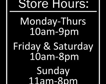 Custom Business Decal Store Hours for Jessicat