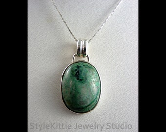 Chrysocolla in White Quartz, 925 Sterling Silver Pendant, Green Blue, Natural  Blended Gemstone, Cabochon, Multi Color, Unisex, Jewelry
