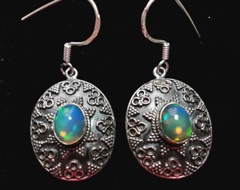 Opal Earrings in Sterling Bali Style Genuine Solid Fire Opal Earrings with Sterling Hooks
