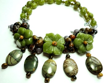 Olive Jade Necklace Gemstone Floral Bib Collar Statement Necklace with Picasso Jasper and Sterling