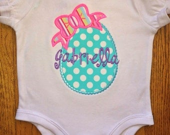 Girls Easter Shirt, Egg with Bow Shirt, Girls Easter Top, Girls Custom Easter Shirt, Appliqued Easter Shirt
