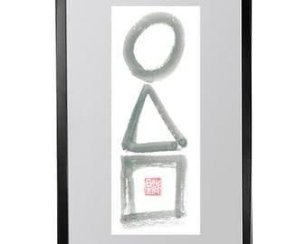 Enso, Circle,Triangle, Square, Zen Universe, Original Sumi Ink Zen Painting, japanese art illustration, zen decor, taoist art, buddhist art
