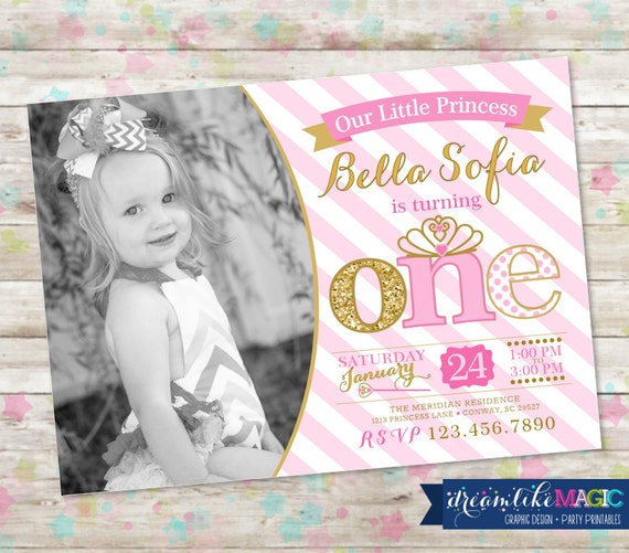 St Birthday Party Invite Pink And Gold Princess Invitation - 1st birthday invitations gold and pink