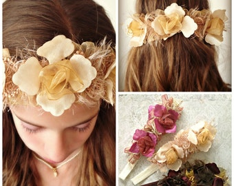 Cream Floral Headband Cream Vanilla Sand Yellow Wedding Bridal Bridesmaids Flower Girl Mommy and Me Shabby Chic Rennaisance Victorian
