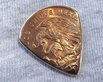 Premium Coin Guitar Pick - Handmade from a Vintage 1964 Mexican 20 Centavos Coin