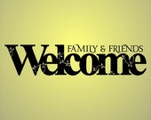 Family & Friends Welcome Decal Removable Welcome Wall Sticker Word Quotes