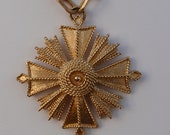70'S Monet Gold Tone Maltese Cross Pendant