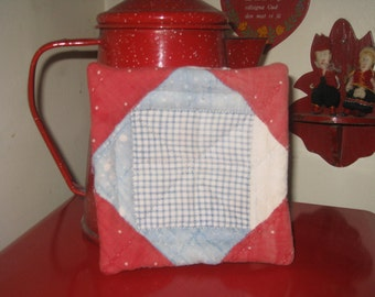 Quilt Pot Holder Doll Quilt Cutter Quilt Early Fabrics Primitive Hand Stitched Cup Cozy Coaster Mini Quilt 1800s Gift Basket Kitchen Gift