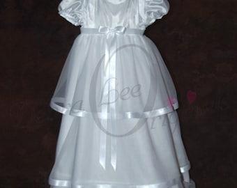 McKenna White Christening Gown  Christening Dress  Blessing Gown  Blessing Dress  Naming Gown