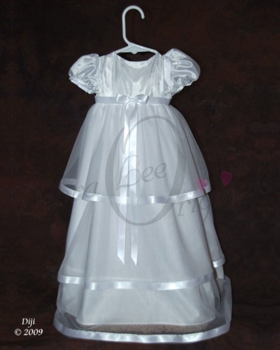 McKenna White Christening Gown  Christening Dress  Blessing Gown  Blessing Dress  Naming Gown