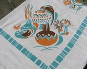 Vintage Southwest Themed Tablecloth 1950s Aqua Orange and Brown Linen / Cotton