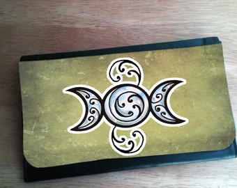 Triple Moon Witchy Art Wallet With Changeable Hand Pressed Flap