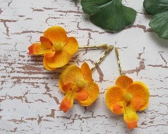 Hawaiian Yellow Orange Orchids SET OF 3 bobby pins flowers-hair clips - Weddings