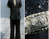 Vintage 1960's De Paul black and silver sequin pantsuit / sixties / large xl / size 14