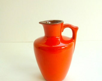 Vintage Frankoma Flame Pitcher, Red Orange Pottery Ewer, 1960s Small Pottery Pitcher,