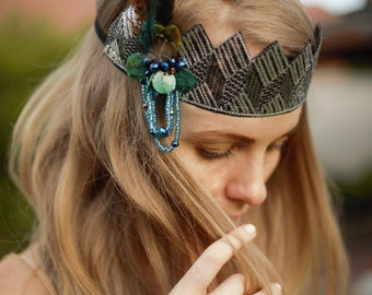 peacock pheasant feather beaded headband,1920s influence headband. Teal Flapper headband, Boho flapper wedding head piece.