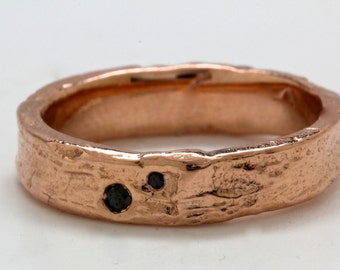 14k Rose Gold Blue Black Diamond set Tree Bark Ring sizes 3 to 12  made to order