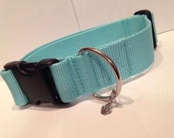 """LARGE 1 1/2"""" Simply baby blue dog collar"""
