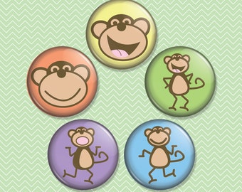Monkeys 1 inch Magnet Set of 5 (M0056)