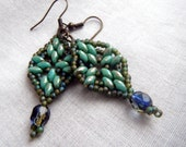 Leaf-shaped Earrings with Dangle - Verdigris Green and Sapphire Blue