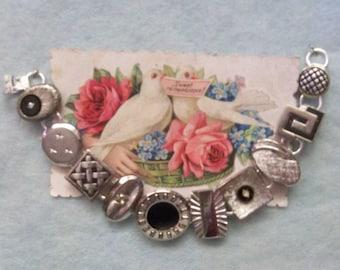 Black & Silver Tone  Cufflink Bracelet ~  Original Art Deco Second Time Around Cuff Link Settings ~ Unique OOAK Wearable Art Jewelry