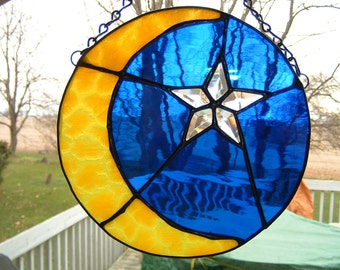 Stained Glass Moon and Bevel Star Sun Catcher Panel